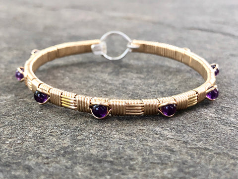Amethyst Classic Design Bangle Bracelet