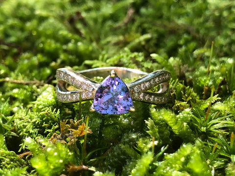 Tanzanite Trillion Split Band Ring