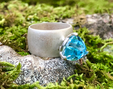 Trillion Swiss Blue Topaz Statement Ring