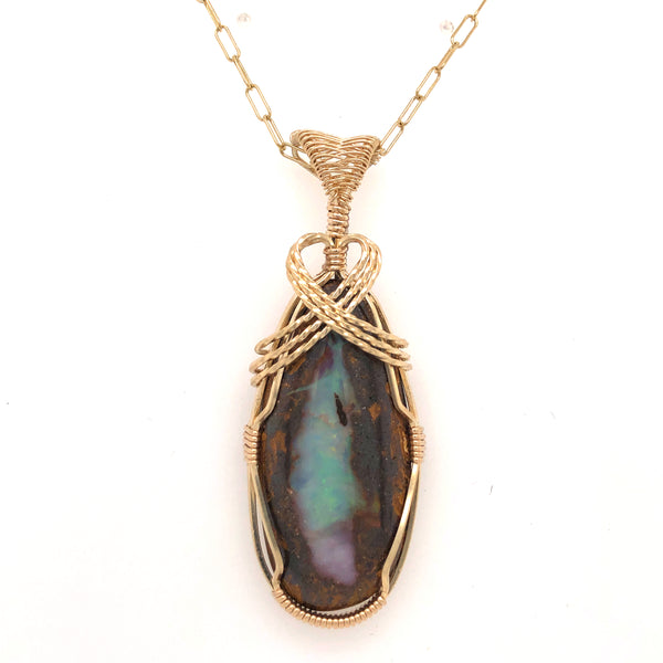 Classic Wrap Boulder Opal in 14 Karat Yellow Gold
