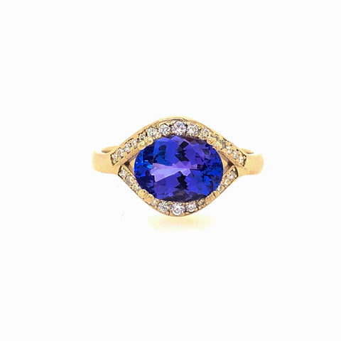 Oval Tanzanite and Diamond Halo Flow Series