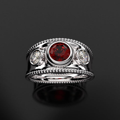 Silver Mill Grain Bezel Gemstone Ring