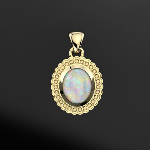 Australian Opal Scalloped Halo Pendant