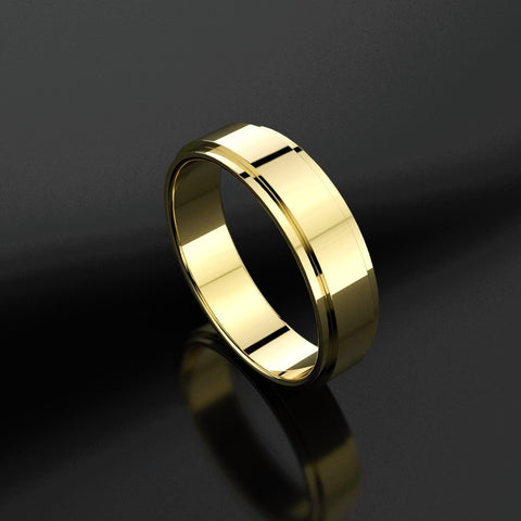 Raised Bed Flat Band Men's Wedding Band