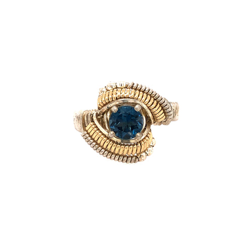 Classic Beaded London Blue Topaz Ring