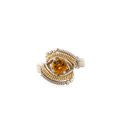 Classic Beaded Citrine Ring