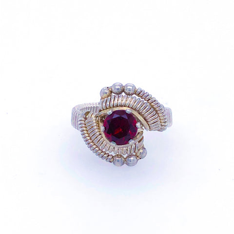 Classic Beaded Garnet Ring