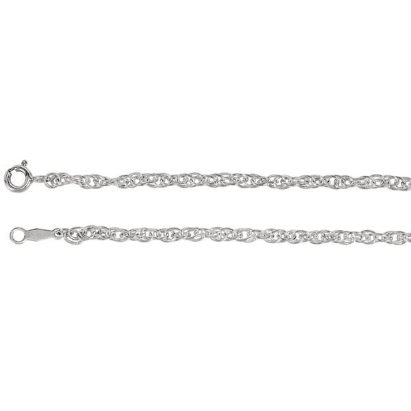 Sterling Silver 2.5 mm Solid Rope Chain