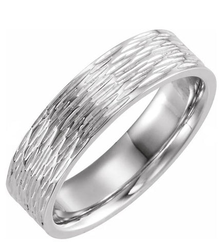Tree Bark Men's Wedding Band