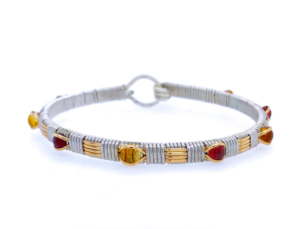Citrine and Garnet Classic Bangle Bracelet