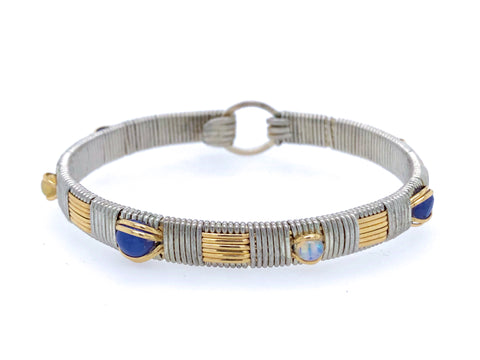 Ethiopian Opal and Tanzanite Elite Bangle Bracelet