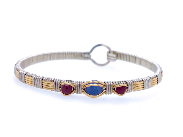 Three Stone Classic Bangle Bracelet Tanzanite and Ruby