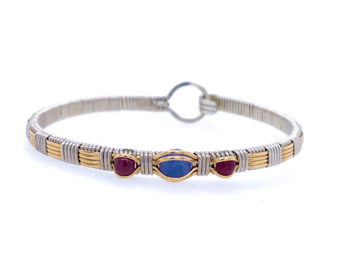 Tanzanite and Ruby Three Stone Classic Bangle Bracelet