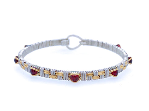 Basket Weave Garnet Bangle Bracelet