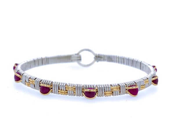 Ruby Basket Weave Bangle Bracelet