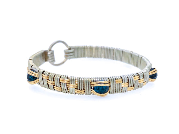London Blue Topaz Basket Weave Elite Bangle Bracelet