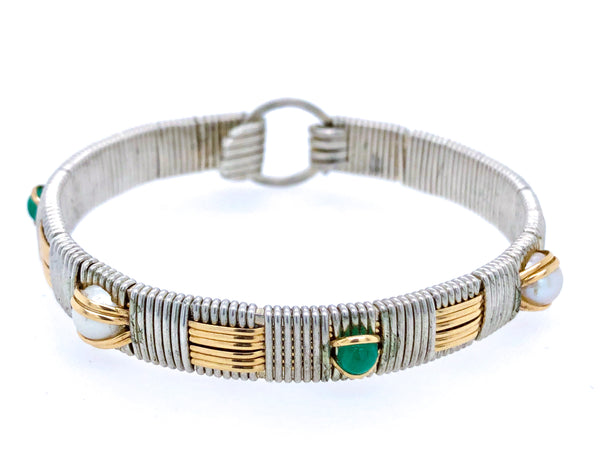 Emerald and Pearl Classic Elite Bangle Bracelet