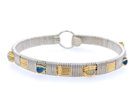 Opal and London Blue Topaz Elite Gemstone Bangle