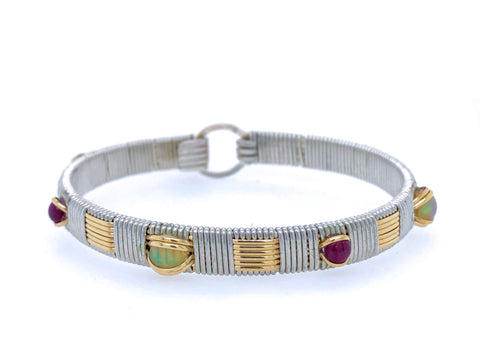 Ruby and Opal Classic Elite Bangle Bracelet