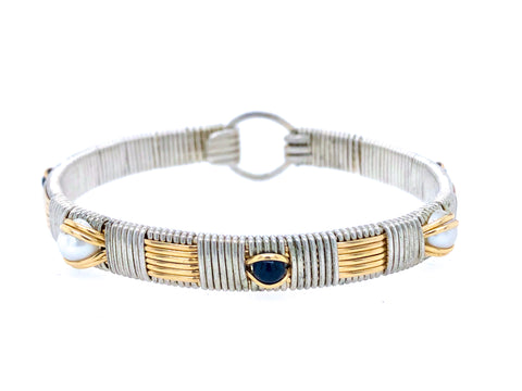 Sapphire and Pearl Classic Elite Bangle Bracelet
