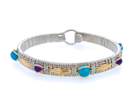 Amethyst and Turquoise Elite Southwest Bangle Bracelet
