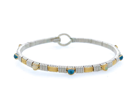 Blue Topaz and Opal Petite Bangle Bracelet