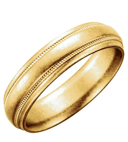 Half Round Milgrain Men's Wedding Band