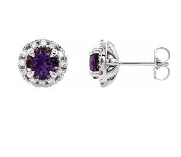 Amethyst Diamond Halo Earrings