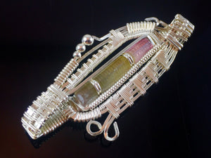 Tourmaline Wire Wrapped Pendant argentium silver and 14 karat yellow gold filled wire wrapped jewelry