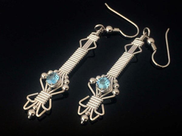 Blue Topaz Byzantine Gemstone Earrings