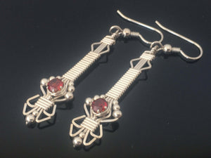 Wire Wrapped Dangle Almandine Garnet Earrings