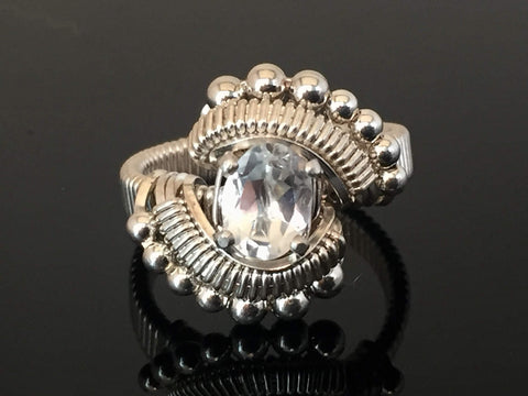 Beaded White Topaz Wire Wrapped Ring Oval Gemstone