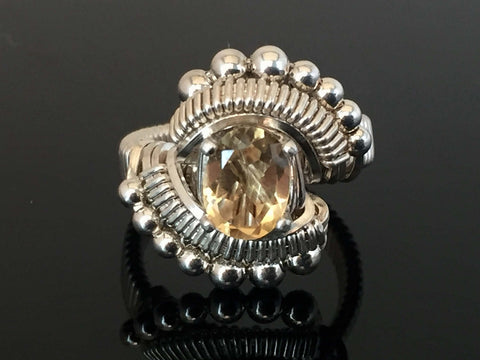 Beaded Oval Citrine Ring