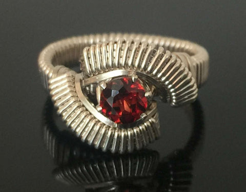 Classic Almandine Garnet Wire Wrapped Ring