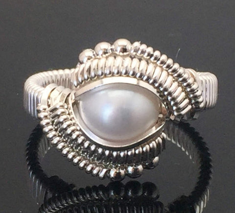 Classic Beaded Freshwater Pearl Ring