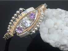 Load image into Gallery viewer, Eclipse Deco Bangle Bracelet White Topaz African Amethyst Labradorite Argentium Silver 14 karat gold bangle bracelet