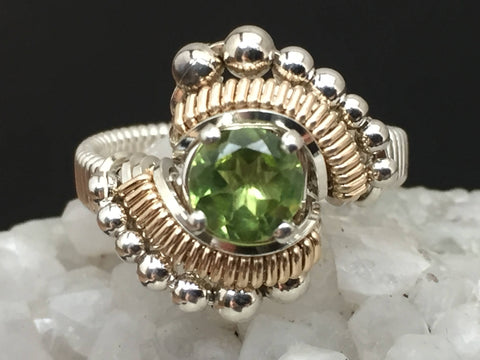 Beaded Peridot Wire Wrapped Ring