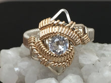 Load image into Gallery viewer, White Topaz Wire Wrapped Ring Argentium Silver and 14 Karat Yellow Gold Filled Wire Wrapped Jewelry