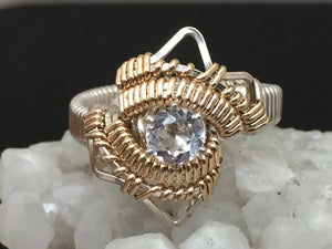 White Topaz Wire Wrapped Ring Argentium Silver and 14 Karat Yellow Gold Filled Wire Wrapped Jewelry