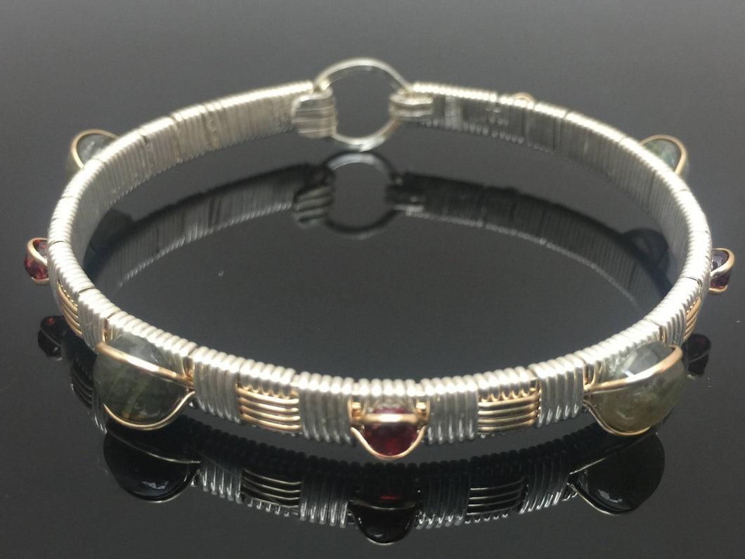 Labradorite and Garnet Elite Classic Gemstone Bangle