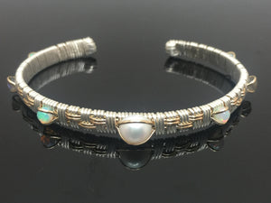 Pearl and Opal Basket Weave Design Cuff Bracelet Wire Wrapped Jewelry