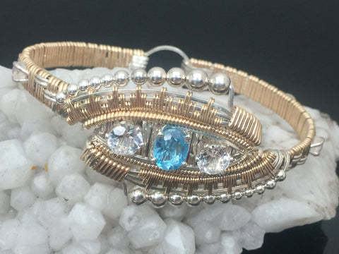 Eclipse Deco Bangle Bracelet Swiss Blue Topaz White Topaz Moonstone