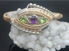 Load image into Gallery viewer, Eclipse Deco Bangle Bracelet African Amethyst Peridot Ethiopian Opal Argentium Silver 14 karat gold bangle bracelet
