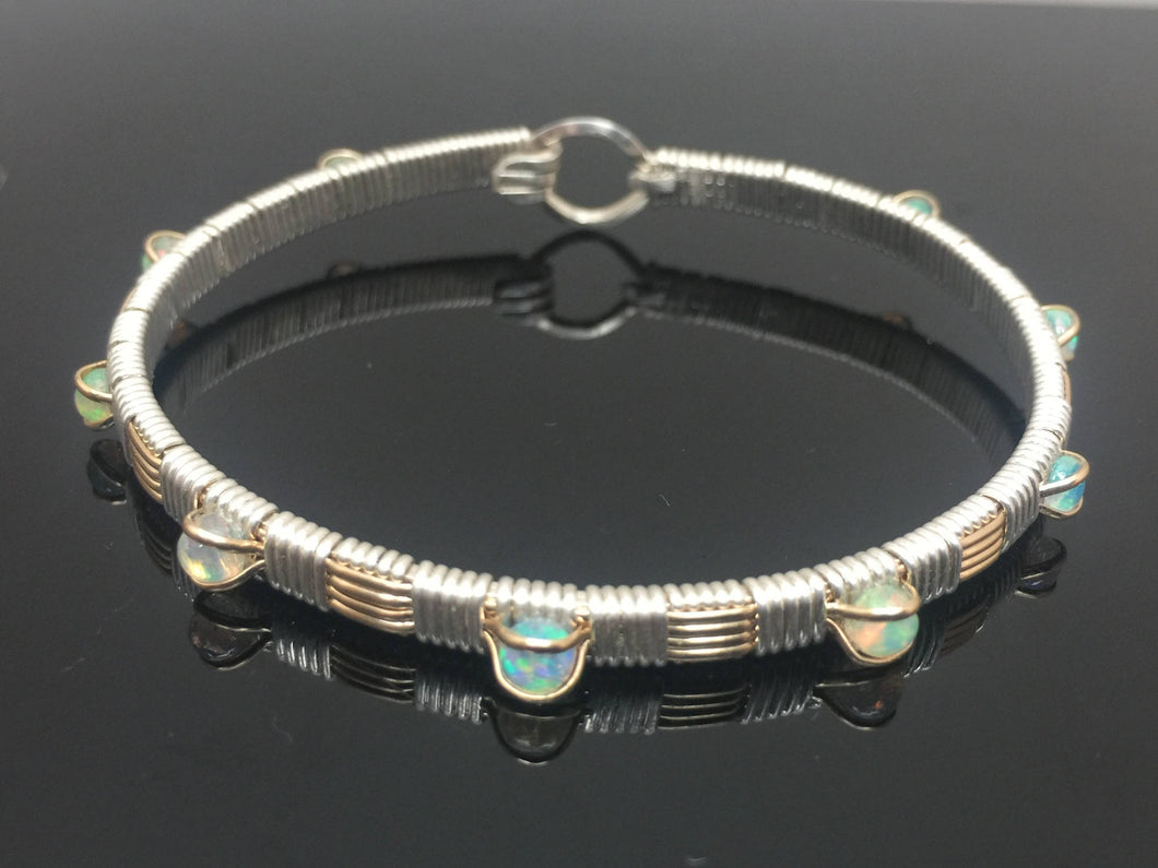 Classic Gemstone Bangle Ethiopian Opal Bangle Bracelet