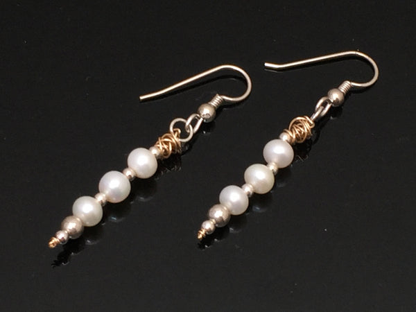 Three Pearl Dangle Earrings