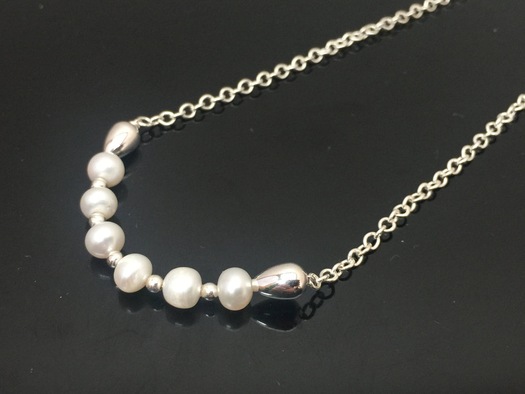 Freshwater Pearl Necklace Argentium silver hand made jewelry by Ryan Eure Designs