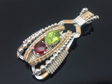 Load image into Gallery viewer, Peridot and Garnet Coiled Amulet
