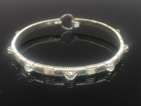 White Topaz Wire Wrap Bangle Bracelet Argentium Silver and 14 Karat yellow gold filled wire woven jewelry by Ryan Eure Designs