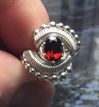 Load image into Gallery viewer, Beaded Wire Wrapped Almandine Garnet Ring Oval Gemstone