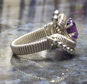 Beaded Amethyst Ring